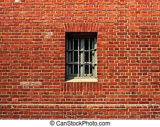 parete, finestra, prigione
