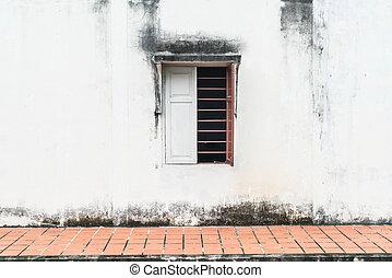 parete, finestra, vecchio, fondo
