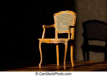 parete, fondo., sedia, vecchio, nero