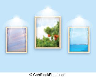 parete, foto, tre, cornici, appendere