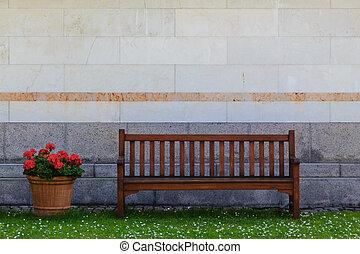 parete, fronte, panca
