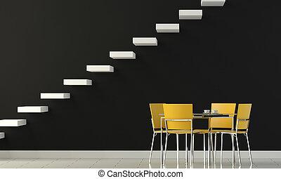 parete, giallo, sedie, disegno, interno, nero