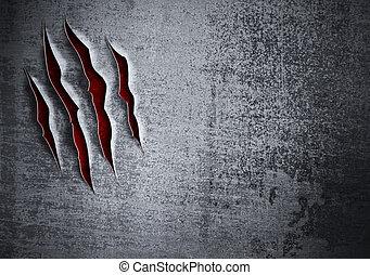 parete, grunge, danneggiato, concetto, metallo