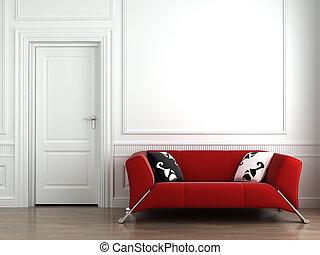 parete, interno, bianco rosso, divano