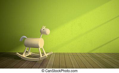 parete, interno, cavallo, legno, verde