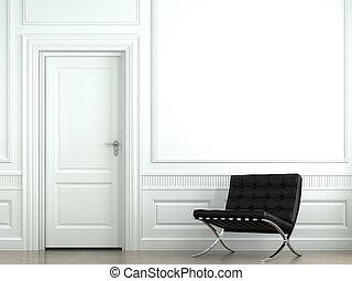 parete, interno, sedia, disegno, classico