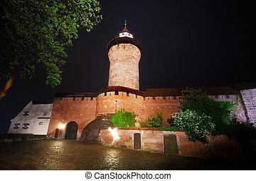parete, kaiserburg, notte, vista, sinwellturm