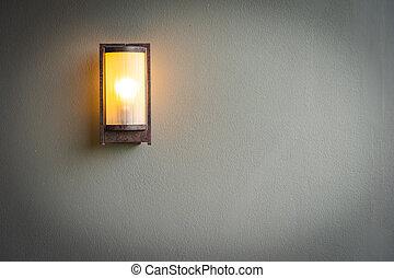 parete, lampada, decorazione, luce