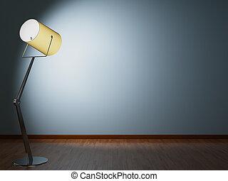 parete, lampada, illumina, pavimento