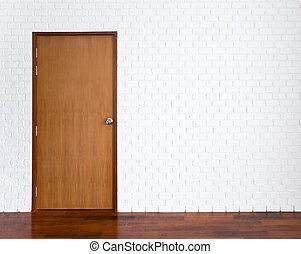 parete, legno, bianco, porta, mattone