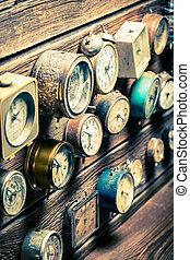 parete legno, clocks, vecchio