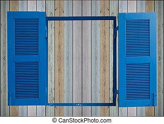 parete legno, finestra, vecchio, fondo