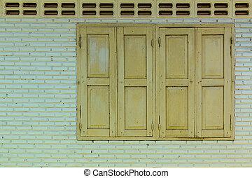 parete legno, finestra, verde
