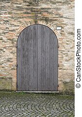 parete legno, mattone, porta