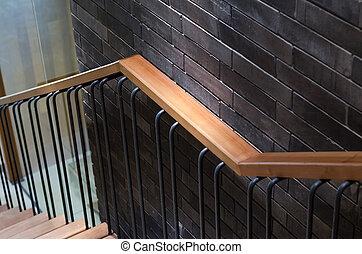 parete legno, mattone, ringhiera