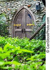 parete legno, pietra, porta, castello