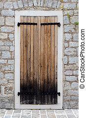 parete legno, pietra, porta, chiuso