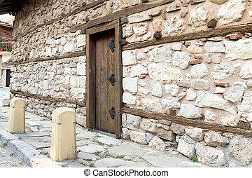 parete, legno, pietra, porta