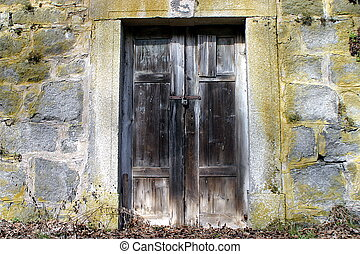 parete legno, pietra, porta, vecchio