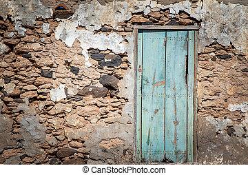 parete, legno, pietra, vecchio, porta