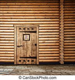 parete legno, porta