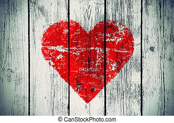 parete legno, simbolo, amore, vecchio
