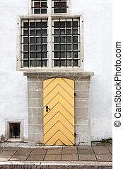parete legno, vecchio, porta, bianco