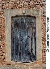parete legno, vecchio, porta, mattone