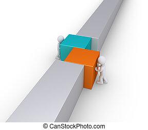 parete, linea, unire, due persone