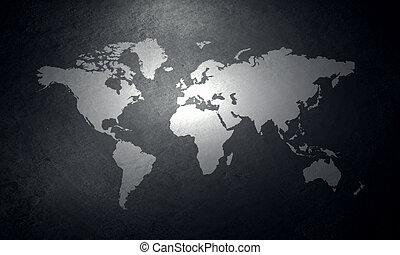 parete, mappa mondo, concreto