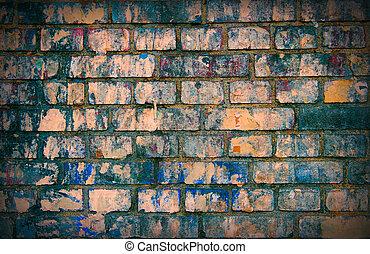 parete, mattone, colorato