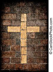 parete, mattone, cristiano, croce