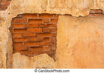 parete, mattone, fesso, vecchio, stucco