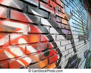 parete, mattone, fondo