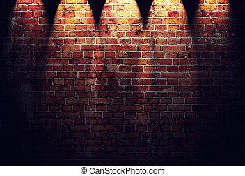 parete, mattone, illustrazione, rosso