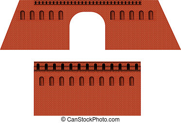 parete, mattone, moscwo, cremlino