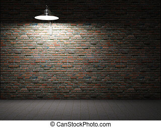 parete, mattone, sporco, illuminato
