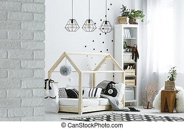 parete, mattone, stanza, bambino