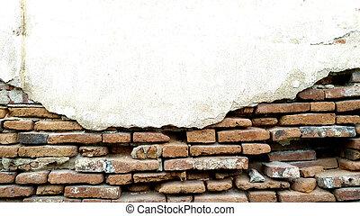 parete, mattone, vecchio, struttura, fondo