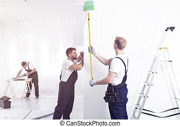 parete, mentre, verde, artigiano, interno, bianco, pittura, finitura