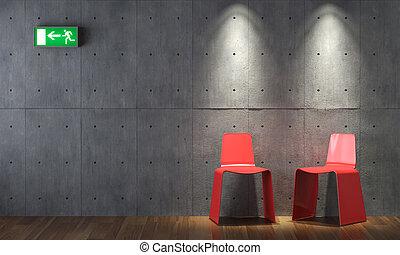 parete, moderno, concreto, disegno, cahirs, interno, rosso