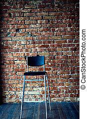 parete, moderno, sfondo nero, sedia, mattone