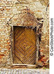 parete, molto, vecchio, porta