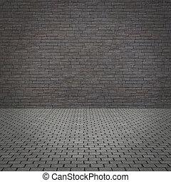 parete, pavement., vecchio, grunge, concreto