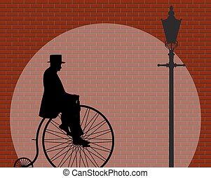 parete, penny, gentiluomo, farthing, mattone, riflettore