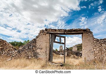 parete, pietra, antico, porta