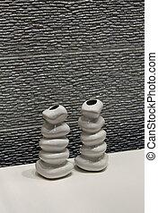 parete, pietra, moderno, ceramica, vasi