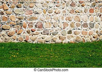 parete, pietra, prato, fondo