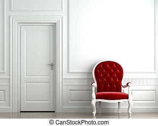 parete, poltrona, bianco, velluto, rosso