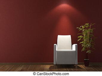 parete, poltrona, disegno, interno, bianco, bordeaux